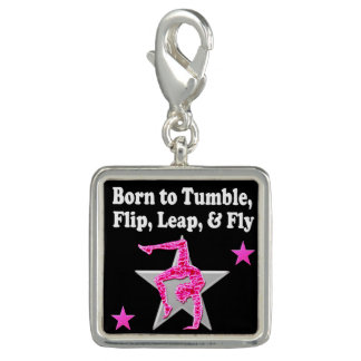 BORN TO TUMBLE, LEAP AND FLY GYMNAST CHARMS
