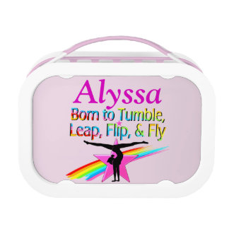 BORN TO TUMBLE PERSONALIZED GYMNAST LUNCH BOX