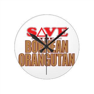 Bornean Orangutan Save Wall Clock