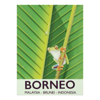 Borneo Poison frog travel poster