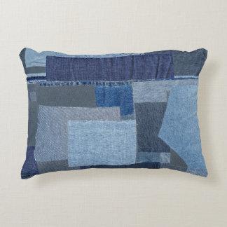 Boro Boro Blue Jean Patchwork Denim Shibori Accent Pillow