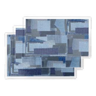 Boro Boro Blue Jean Patchwork Denim Shibori Acrylic Tray