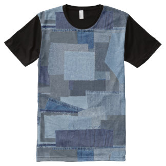 Boro Boro Blue Jean Patchwork Denim Shibori All-Over-Print T-Shirt