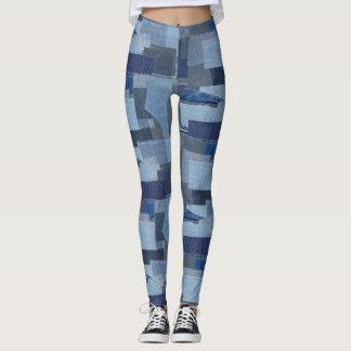 Boro Boro Blue Jean Patchwork Denim Shibori Leggings