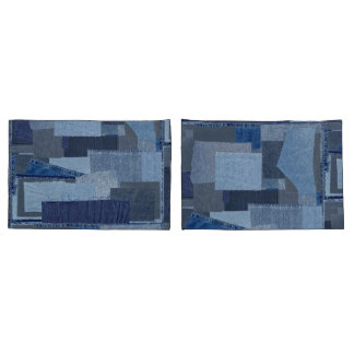 Boro Boro Blue Jean Patchwork Denim Shibori Pillowcase