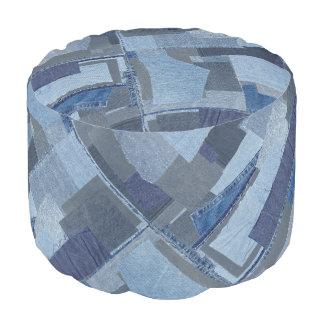 Boro Boro Blue Jean Patchwork Denim Shibori Pouf