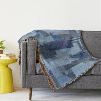 Boro Boro Blue Jean Patchwork Denim Shibori Throw Blanket