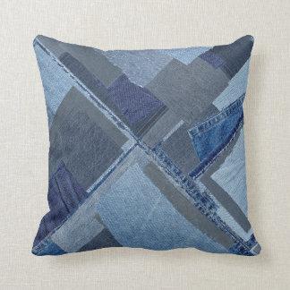 Boro Boro Blue Jean Patchwork Denim Shibori Throw Pillow