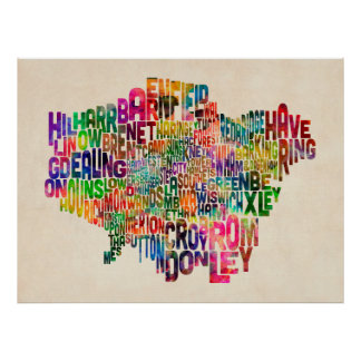 Boroughs of London Typography Text Map Poster
