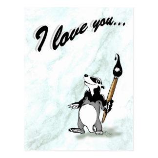 Bortel the badger - I love you Postcard