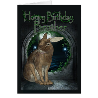 Borther Birthday Card - Hoppy Birthday With Rabbit