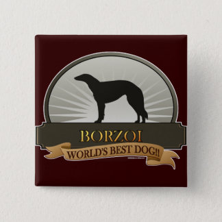 Borzoi 2 Inch Square Button