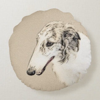 Borzoi 2 round pillow