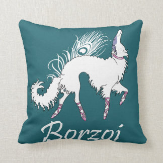 Borzoi Ballet White-Teal Pillow