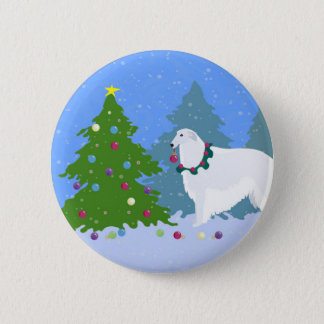 Borzoi Decorating Christmas Tree in the Forest 2 Inch Round Button
