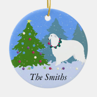 Borzoi Decorating Christmas Tree in the Forest Ceramic Ornament