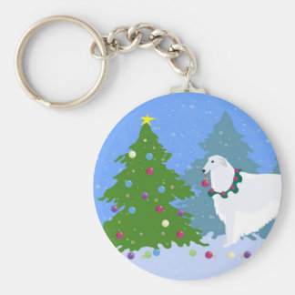 Borzoi Decorating Christmas Tree in the Forest Keychain