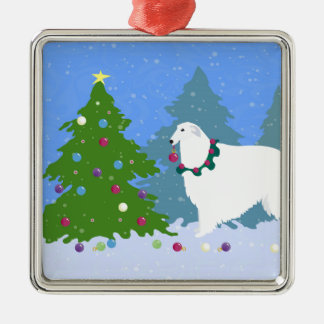 Borzoi Decorating Christmas Tree in the Forest Metal Ornament