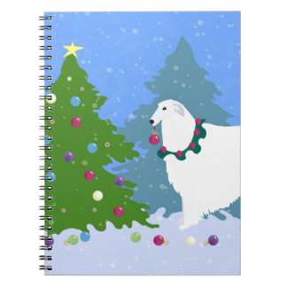 Borzoi Decorating Christmas Tree in the Forest Notebook