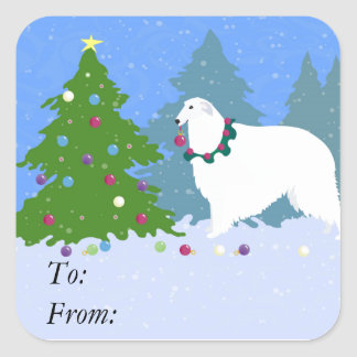 Borzoi Decorating Christmas Tree in the Forest Square Sticker