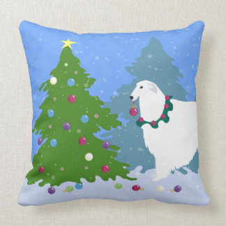 Borzoi Decorating Christmas Tree in the Forest Throw Pillow