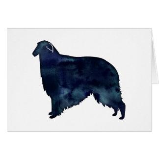 Borzoi Dog Silhouette Black Watercolor Card
