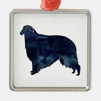 Borzoi Dog Silhouette Black Watercolor Metal Ornament