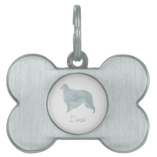 Borzoi Dog Watercolor Design Pet Name Tag