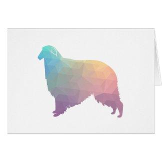 Borzoi Geometric Pattern Dog Silhouette Pastel Card