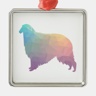 Borzoi Geometric Pattern Dog Silhouette Pastel Metal Ornament