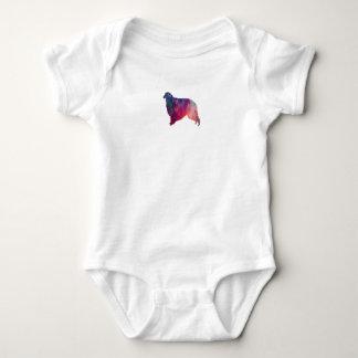 Borzoi Geometric Pattern Dog Silhouette Pink Baby Bodysuit