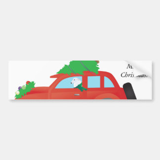 Borzoi hound dog driving car w/ Christmas tree Bumper Sticker