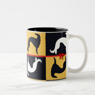 Borzoi in festival! Two-Tone coffee mug