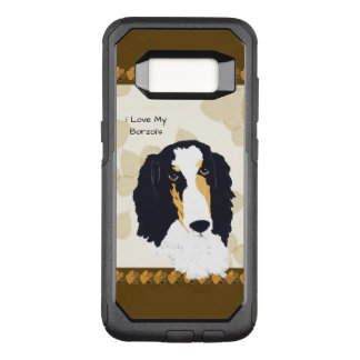 Borzoi on Tan Leaves w-Brn Pawprints OtterBox Commuter Samsung Galaxy S8 Case