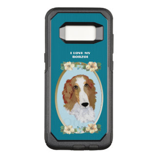 Borzoi on Teal Floral OtterBox Commuter Samsung Galaxy S8 Case