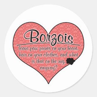 Borzoi Paw Prints Dog Humor Round Stickers