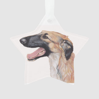 Borzoi Russian Wolfhound Dog Art Star Ornament