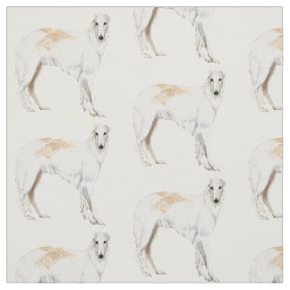 Borzoi Russian Wolfhound Standing Dog Art Fabric