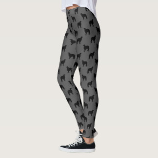 Borzoi Silhouettes Pattern Grey and Black Leggings