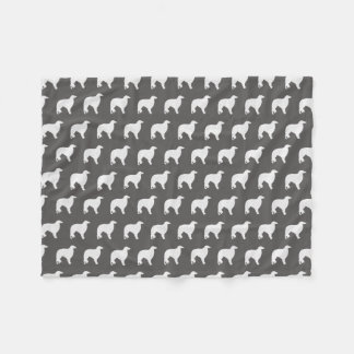 Borzoi Silhouettes Pattern Grey Fleece Blanket