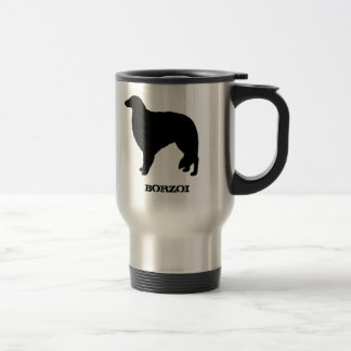Borzoi Silhouettes with Customizable Text Travel Mug