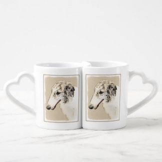 Borzoi (Silver Brindle) Painting Original Dog Art Coffee Mug Set