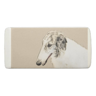 Borzoi (Silver Brindle) Painting Original Dog Art Eraser