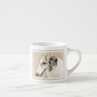 Borzoi (Silver Brindle) Painting Original Dog Art Espresso Cup