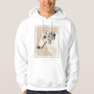 Borzoi (Silver Brindle) Painting Original Dog Art Hoodie