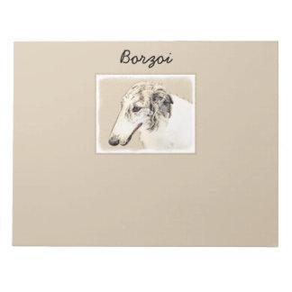 Borzoi (Silver Brindle) Painting Original Dog Art Notepad