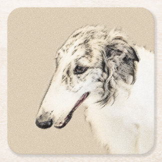 Borzoi (Silver Brindle) Painting Original Dog Art Square Paper Coaster