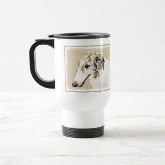 Borzoi (Silver Brindle) Painting Original Dog Art Travel Mug