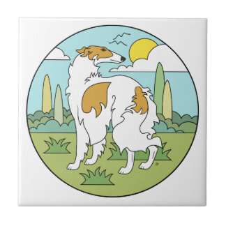 Borzoi Stylised (3Qtr Rear) Small Square Tile
