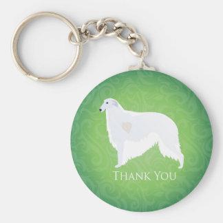Borzoi Thank You Design Basic Round Button Keychain